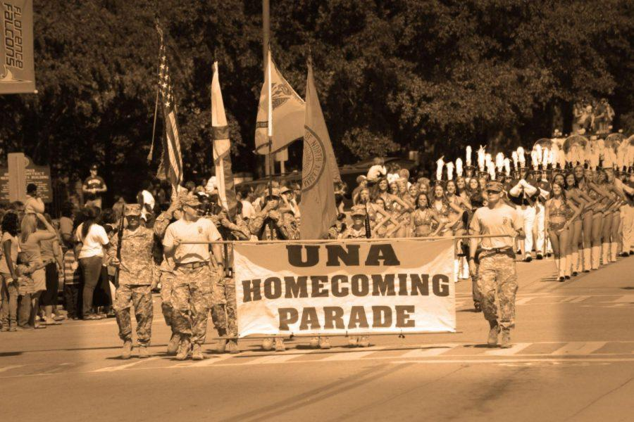 Members of ROTC and the Pride of Dixie marching band take to the streets during 2012's homecoming parade. Homecoming 2015 festivities kicked off Oct. 13 and will end with the football game against University of North Carolina-Pembroke Oct. 17.
