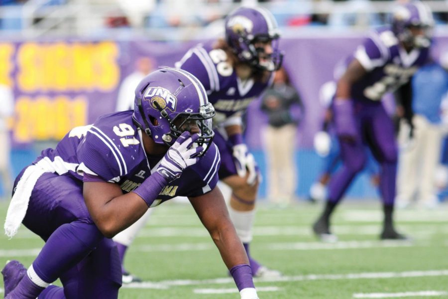 UNA+junior+defensive+end+Tyler+Smith+prepares+to+defend+Shorter+University%E2%80%99s+offensive+attack+in+last+year%E2%80%99s+45-7+UNA+victory+at+Braly+Stadium+Nov.+9.+This+season%2C+Smith+and+the+Lions+will+travel+to+Rome%2C+Georgia+in+hopes+of+another+victory.