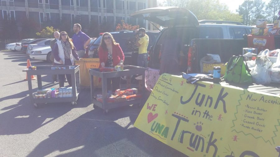 Members+of+various+departments+of+the+Division+of+Student+Affairs+collect+donations+during+the+%22Junk+in+the+Trunk%22+food+drive+Thursday+for+the+Feeding+the+Pride+food+pantry.+They+received+1%2C179+food+items.