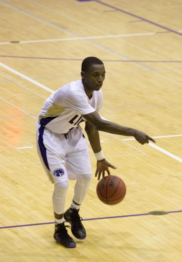 Junior guard Dimarrio Jackson runs the point position, as UNA defeats West Georgia 96-87 for its first conference win of the season. Jackson finished with a career-high 35 points, including 33 in the second half.