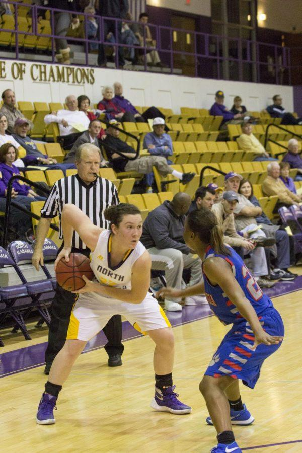 Freshman+guard+Katelyn+Kostelc+looks+for+an+open+shot+during+UNA%27s+44-38+loss+to+West+Georgia+Dec.+10.+Kostelc+has+hit+at+least+one+three-point+shot+in+each+of+her+eight+games+this+season.