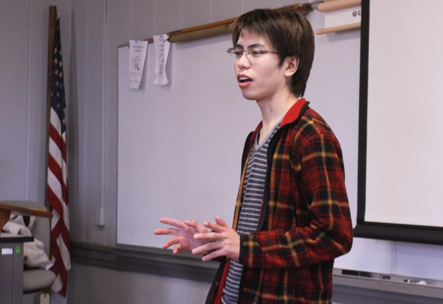 "International student Daichi Shigematsu teaches an intermediate Japanese class of three students. ""Students consistently praise his dedication to teaching them Japanese,"" said Director of Critical Languages Program Craig Christy."