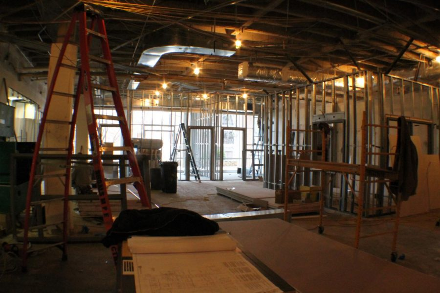 Construction on the future Offices of Student Engagement and the Student Government Association continues in the Guillot University Center. The remodeling project will be complete April 12, said Vice President for Business and Financial Affairs Clinton Carter.