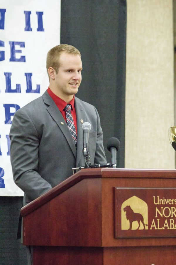 Ferris State quarterback Jason Vander Laan gives an emotional speech after being presented the Harlon Hill trophy Jan. 8 in the GUC. The award is presented to the best player in Division II football and is the equivalent of the Heisman trophy.