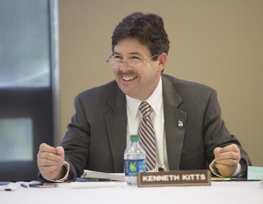 President+Kenneth+Kitts+discusses+vital+campus+changes+at+the+annual+board+of+trustees+meeting+June+8.+Kitts+discussed+important+campus+updates+in+his+letter+to+campus+released+July+2.