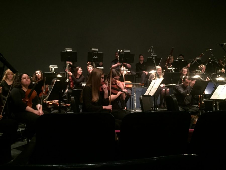 The Shoals Symphony at UNA warms up before their performance in Norton Auditorium Feb. 26.