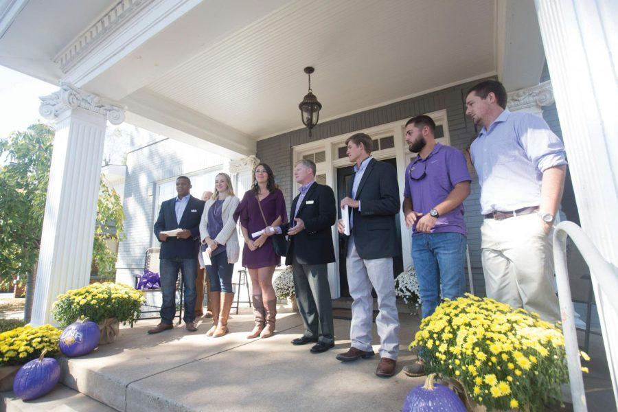 Business students stand with Mitch Hamm (middle), temporary director of Innovation and Entrepreneurship, and the grand opening of the Generator Oct. 17, 2015. The Generator is one of UNA's business startup efforts.