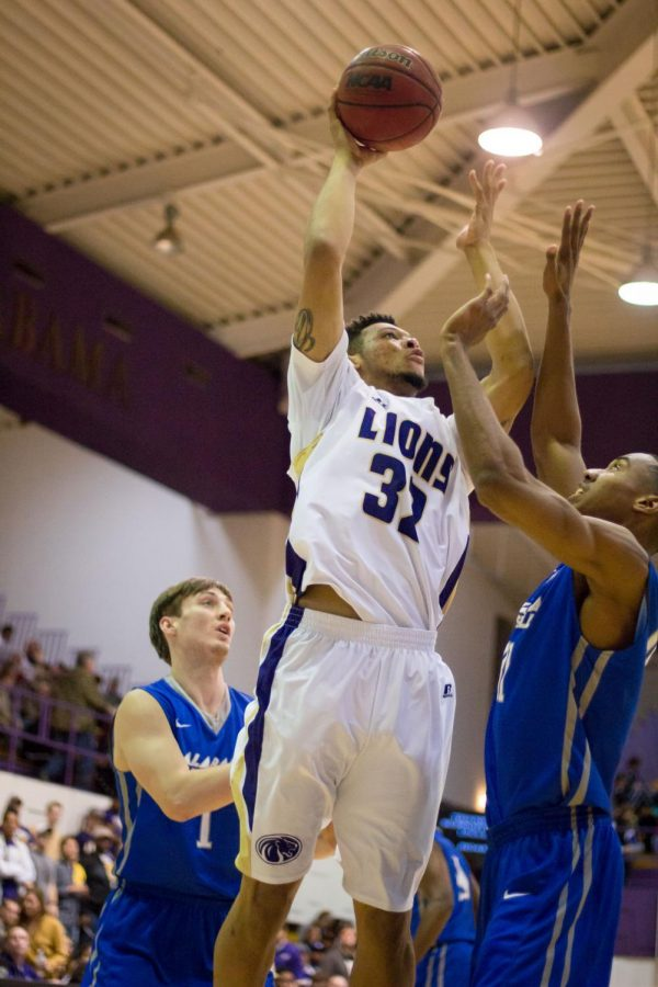 Junior Da'Shaun Griffin pulls up for a shot against Alabama-Huntsville Jan. 16. Griffin, who made the go-ahead basket with 1.4 seconds to go against Shorter Feb. 4, is part of UNA's successful backups.