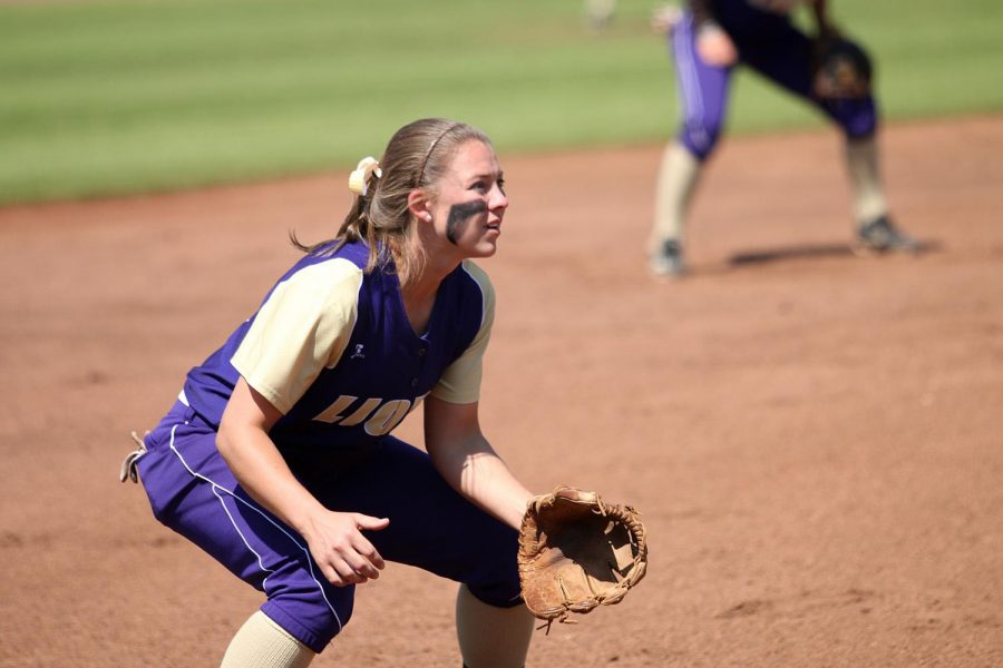 Senior third baseman Harlie Barkley prepares to field a ball during UNA's 8-5 win against Delta State March 26. The Lions extended their longest winning streak in school history to 18 games with the win.