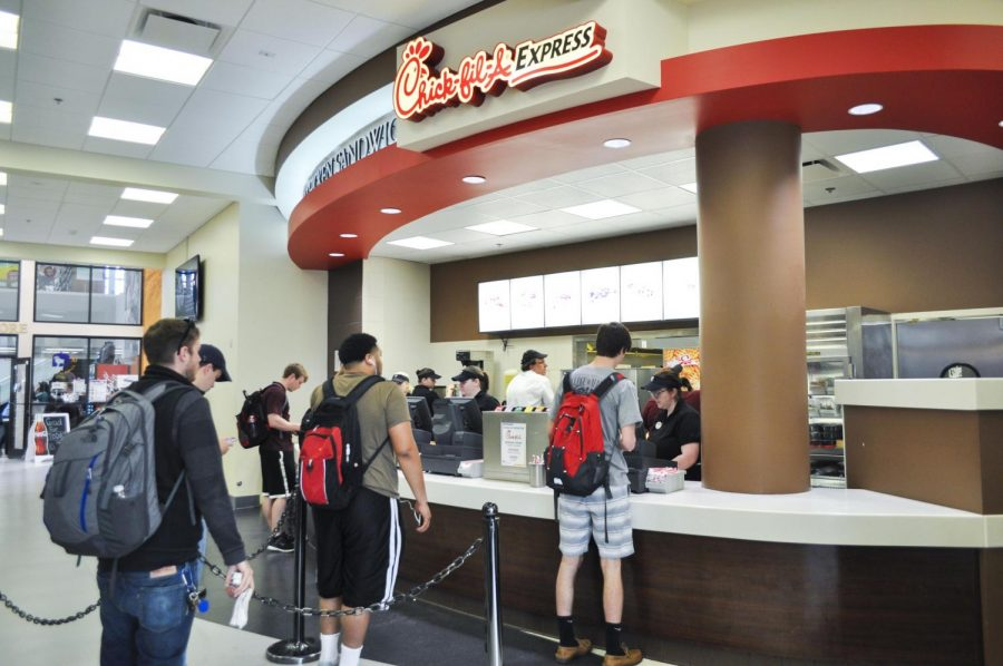 The Commons' Chick-fil-A stand is near completion. The GUC food court could lose 30 percent in revenue to new eateries, said Sodexo Director Alan Kinkead.
