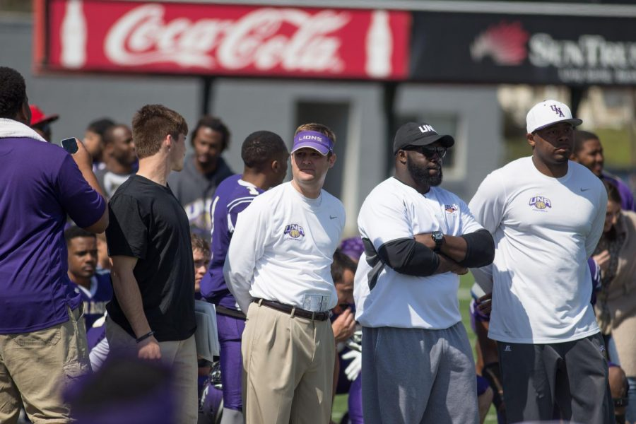 UNA offensive coordinator Steadman Campbell observes the football team's Purple and White Spring Game March 19. Campbell accepted his coaching promotion March 14.
