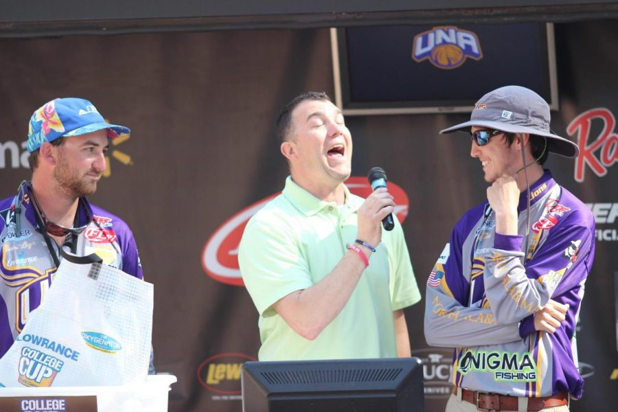 UNA seniors Dawson Lenz (left) and Andrew Tate (right) await the results of their weigh-in during a collegiate bass fishing tournament this season. The duo placed fifth in the Fishing League Worldwide National Championship Tournament in South Carolina March 17-19.