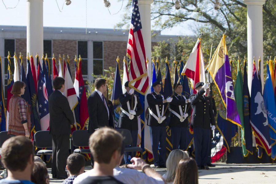 ROTC+cadets+present+the+colors+at+the+Veterans+Day+event+Nov.+11.+The+university+officially+opened+the+Military+and+Veterans+Support+Center+thesame+day.