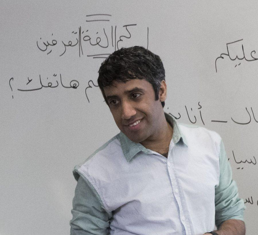 "Graduate student Abdullah Alwafi teaches his Elementary Arabic class. ""He is very calm, encouraging, patient and understanding as he works with students to help them master the material,"" said Director of the Critical Languages Program Craig Christy."