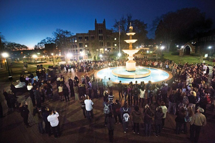 The campus community celebrated the first Light the Fountain ceremony March 21. Students voted the Laura M. Harrison Fountain the No. 1 campus landmark over the George H. Carroll Lion Habitat and the Memorial Amphitheater.