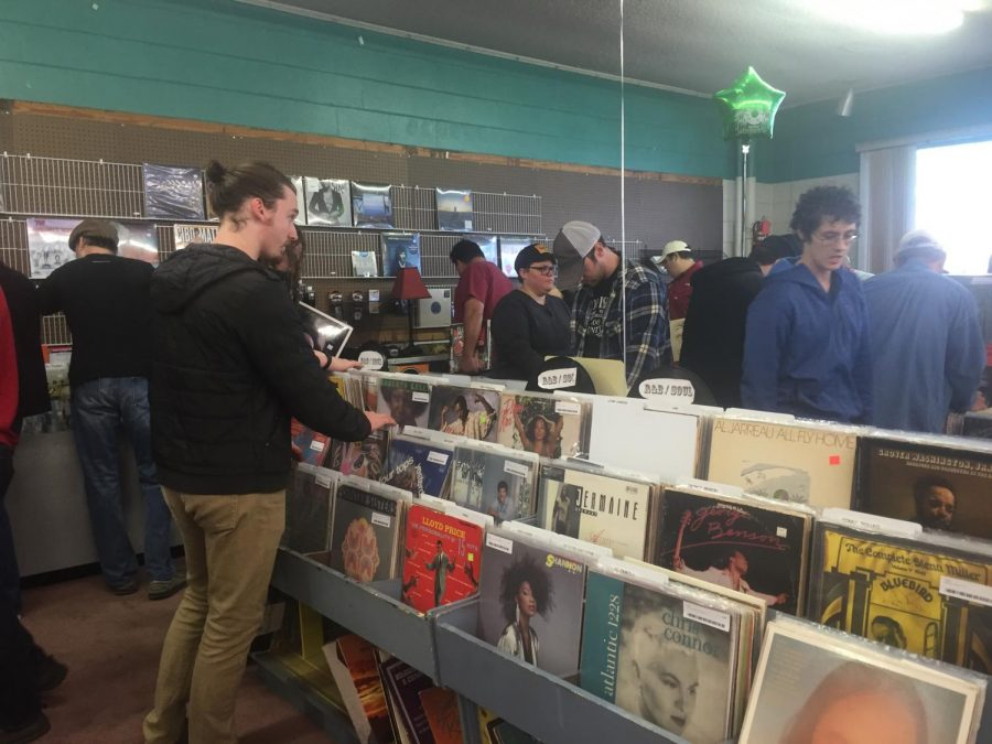 Patrons+visit+Pegasus+Records+for+its+last+day+April+16.+The+store%27s+last+day+fell+on+Record+Store+Day.