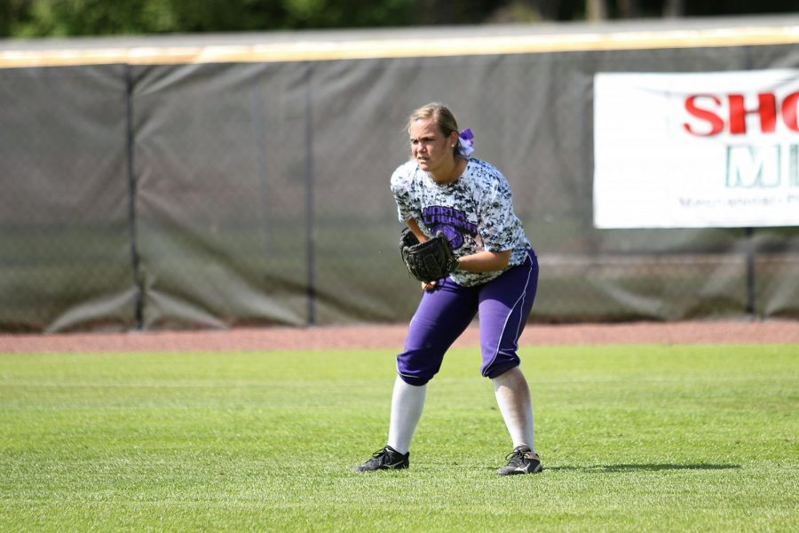Senior right fielder Peyton DeLong prepares to field a ball during the UNA softball team's 11-0 win against Union on senior day April 16. The Lions are 42-5 on the year and clinched the top seed and home field advantage for the Gulf South Conference tournament April 28-30.