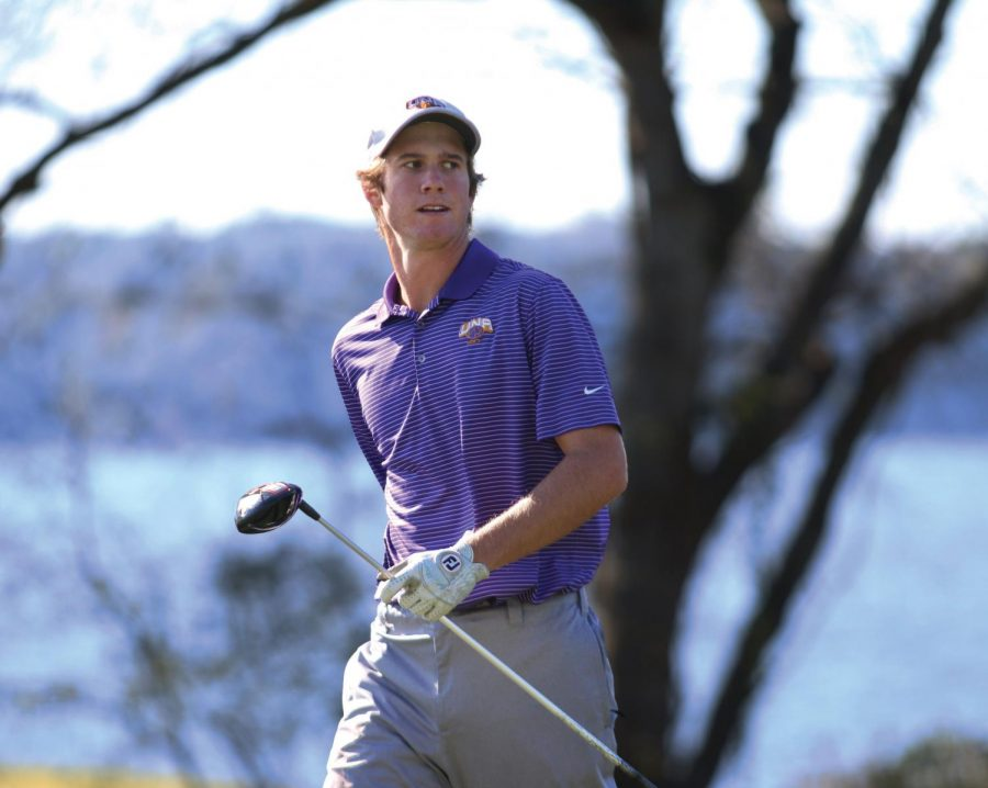 Sophomore James Medley watches his tee shot during the TVA Community Credit Union Invitational Oct. 20, 2015. The UNA golf team finished third in the Gulf South Conference tournament April 17-19 at the Robert Trent Jones Golf Trail in Ford City.