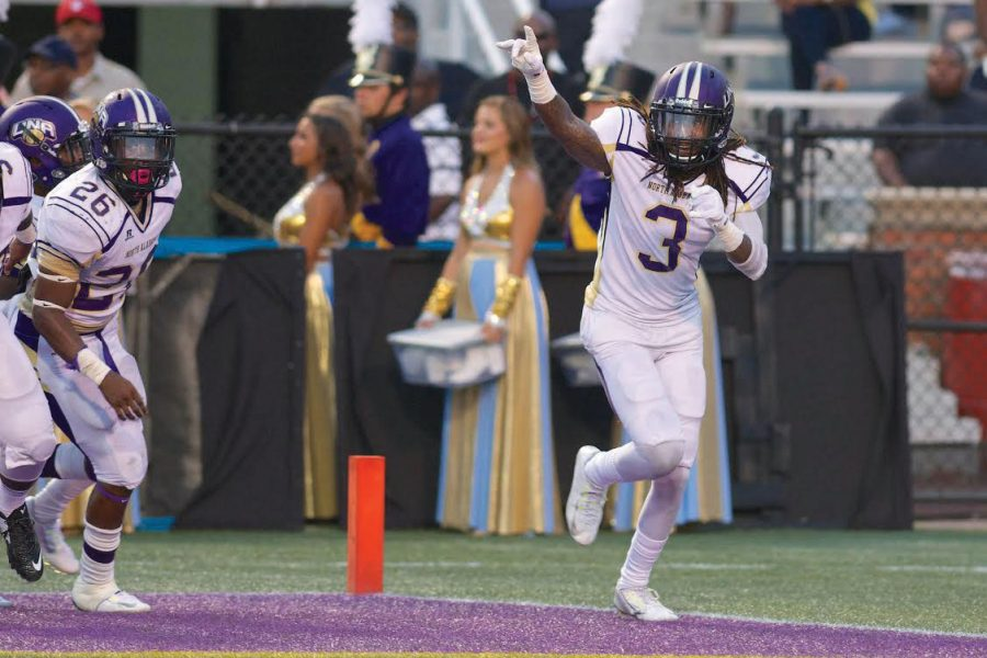 Senior+defensive+back+Darvell+Harris+celebrates+after+returning+an+interception+52+yards+against+Miles+College+Sept.+6%2C+2015+at+Legion+Field.+Harris+received+calls+from+13+NFL+teams%C2%A0+interested+in+him.
