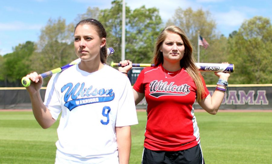 Senior+Harlie+Barkley+%28left%29+and+sophomore+Bailey+Nelson+reflect+on+their+former+high+school+rivalry+at+the+UNA+softball+complex.+Nelson%2C+from+Central+High+School%2C+and+Barkley%2C+from+Wilson+High+School%2C+became+teammates+in+2014+after+an+intense+cross-town+rivalry+dating+back+to+2010.