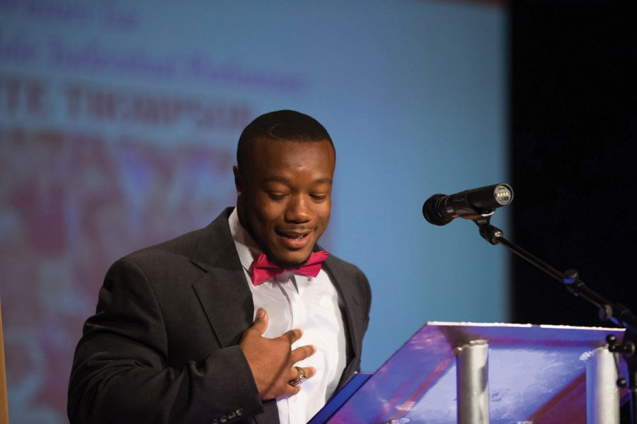 Senior football player Lamonte Thompson gives his acceptance speech after winning an award at the 2015 Player's Choice Awards. The second annual awards show takes place May 3 in Norton Auditorium.