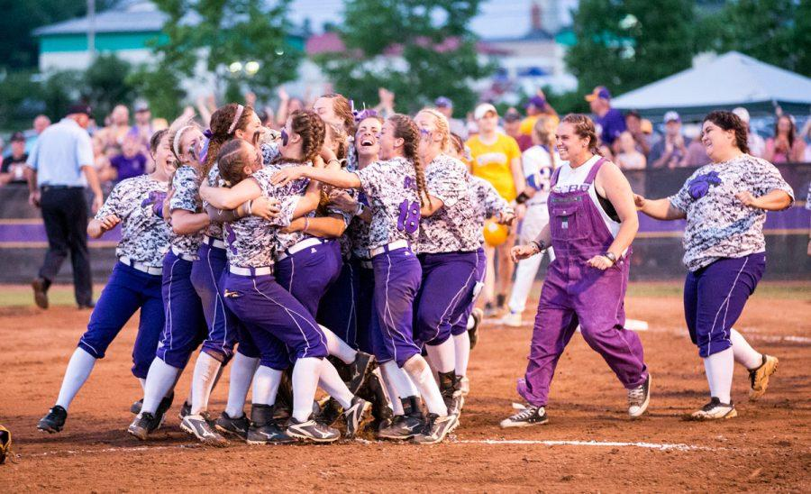 UNA+softball+players+storm+the+field+after+the+final+out+against+Rollins+College+in+the+Division+II+South+Super+Regional+May+11+at+the+UNA+Softball+Complex.+The+Lions+will+compete+in+the+Division+II+Championship+tournament+in+Denver+for+the+first+time+in+school+history+May+17-21.