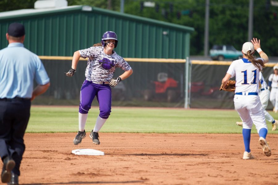 Brooklynn+Clark+shows+emotion+after+hitting+a+double+against+Rollins+in+the+NCAA+Super+Regional+May+11+at+the+UNA+Softball+Complex.+Clark+went+3-3+with+two+home+runs+and+five+RBIs+in+the+first+round+of+the+Division+II+World+Series+in+Denver.