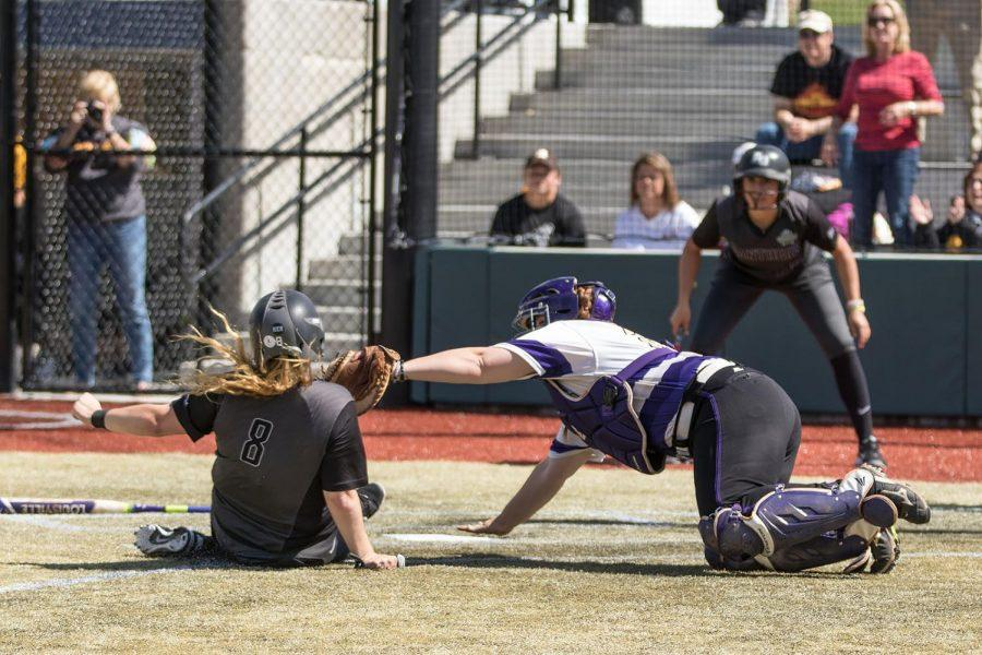 UNA+freshman+catcher+Mackenzie+Roberts+applies+the+tag+to+net+an+out+at+the+plate+against+Adelphi+University+May+18+at+the+Division+II+Softball+National+Championship+in+Denver.+Roberts+received+the+throw+from+sophomore+left+fielder+Bailey+Nelson+to+prevent+a+run.