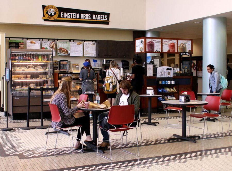 Students eat at Einstein Bros. Bagels in between classes. Chartwells will offer new dining options such as Moe's Southwest Grill, Panda Express and an updated Einstein's.