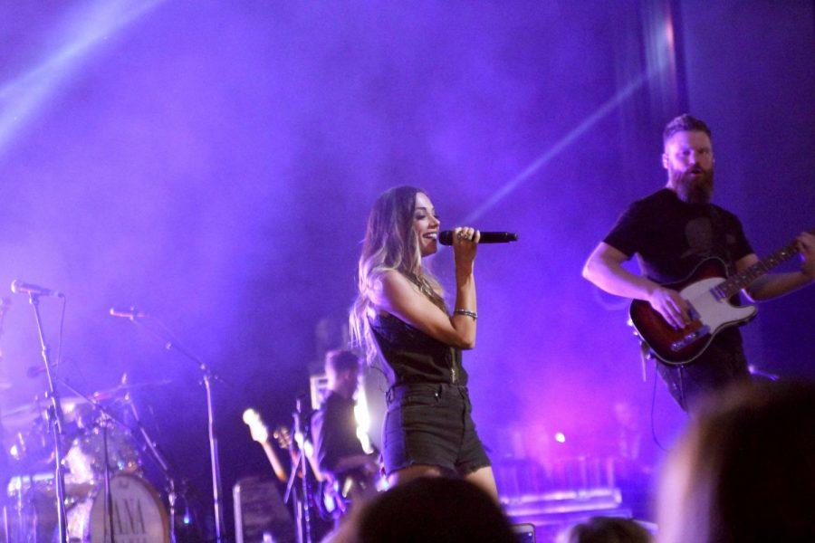 """Country singer Jana Kramer performs at Norton Auditorium Aug. 25. """"I think (the show is) great,"""" said Bob Garfrerick, department chair of Entertainment Industry. """"It's a fairly big show. She does not come cheap, and this is going be as good of a show as anything that's in Norton any given year. My thoughts are that this is going to be a good show."""""""