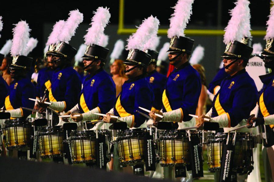UNA%27s+Pride+of+Dixie+Marching+Band+plays+at+the+2015+homecoming+football+game.+The+band+recently+accepted+an+invitation+to+perform+at+the+Bands+of+America+Grand+National+Championships.