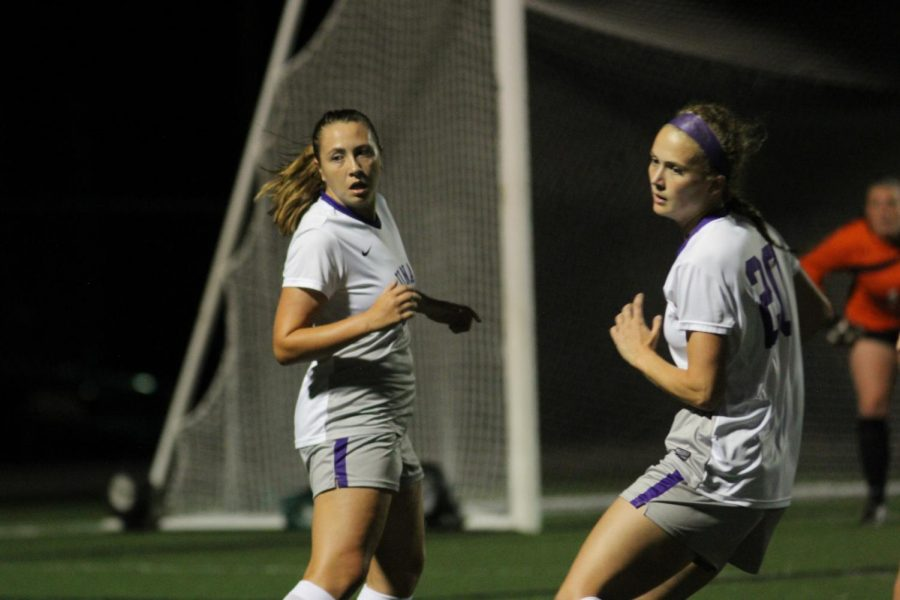 Freshman+Shelby+Wall+%28left%29+and+sophomore+Paige+Porter+look+for+a+pass+during+UNA%27s+3-1+win+over+Delta+State+Oct.+12+at+the+Bill+Jones+Athletic+Complex.+The+Lions+improved+to+5-6+on+the+year+and+4-3+in+conference+play.