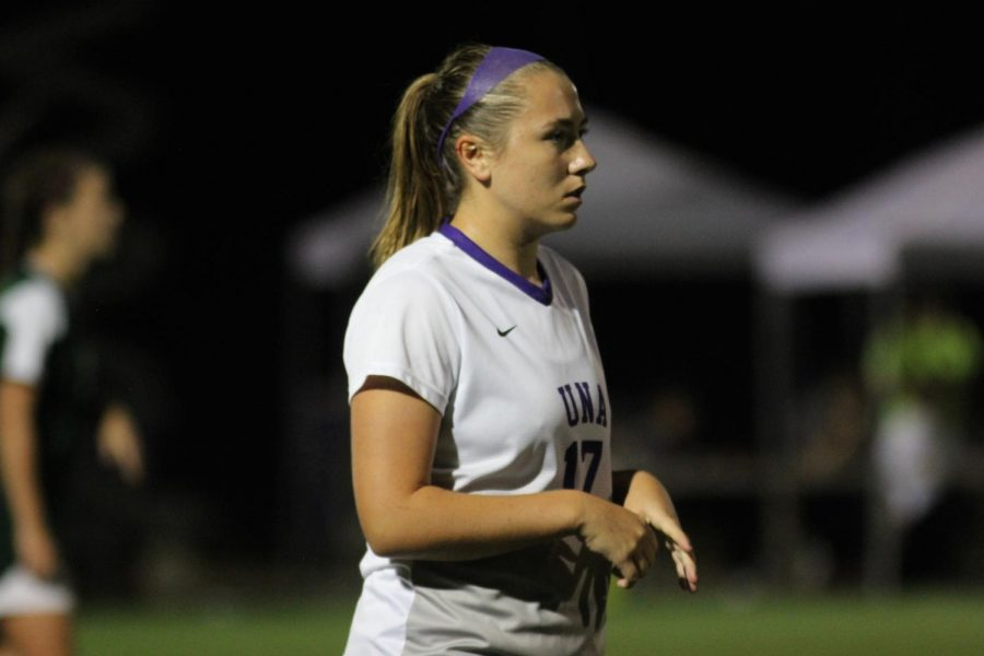 True+freshman+midfielder+Shelby+Wall+during+a+game+against+Delta+State+Oct.+12+in+Florence.+Wall+came+to+the+Lions+after+a+stellar+high+school+career+at+Auburn+High+School+where+she+was+the+class+7A+Player+of+the+Year+last+year.