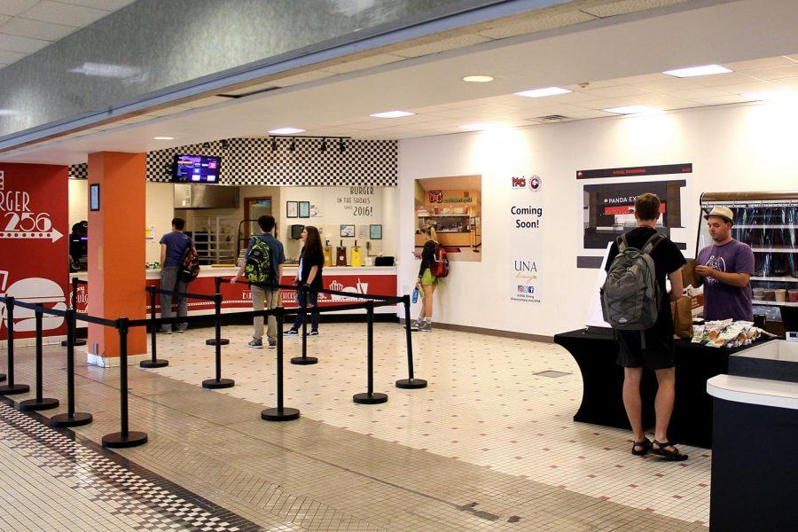 Students stop for lunch at Burger 256 and the Odette pop-up restaurant Oct. 28 in the Guillot University Center. Moe's Southwest Grill and Panda Express will open in the GUC in December and January.