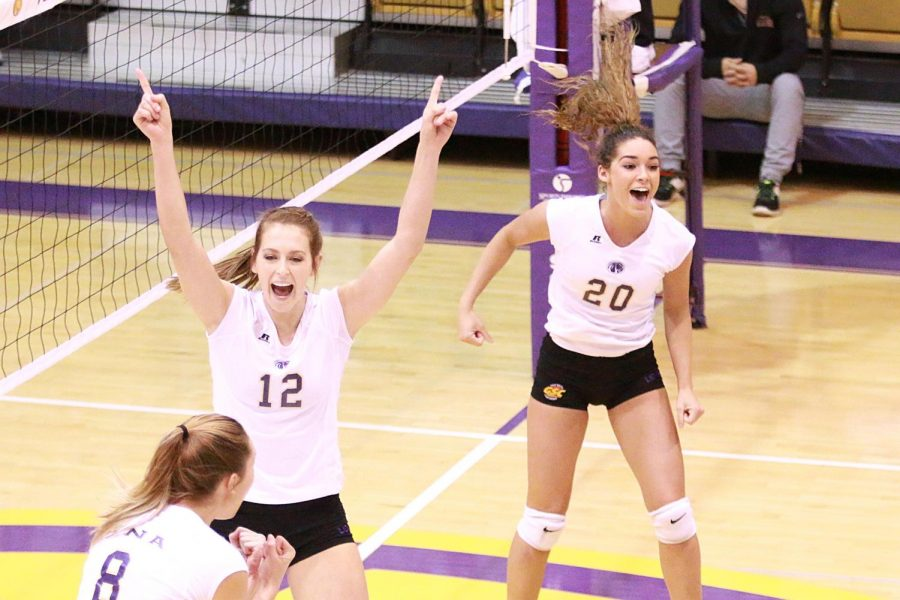 Junior+hitter+Lexie+Bradley+and+sophomore+setter+Jayden+Davila-McClary+%2820%29+celebrate+a+big+play+against+Valdosta+State+in+the+opening+round+of+the+2016+Gulf+South+Conference+tournament+Nov.+15+at+Flowers+Hall.+The+Lions+swept+the+Blazers+and+never+allowed+Valdosta+State+to+score+more+than+16+points+in+a+set.