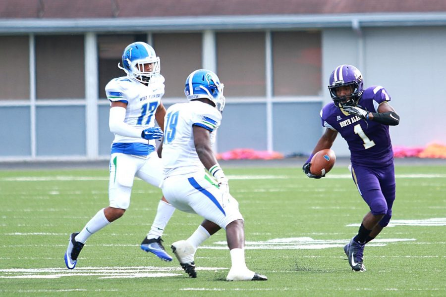Senior defensive back Philbert Martial returns a punt in the North Alabama game against West Florida Nov. 5 in Florence. UNA clinched a fourth-straight Gulf South Conference championship in the win, which is the most consecutive conference football championships in the GSC's 46-year history.