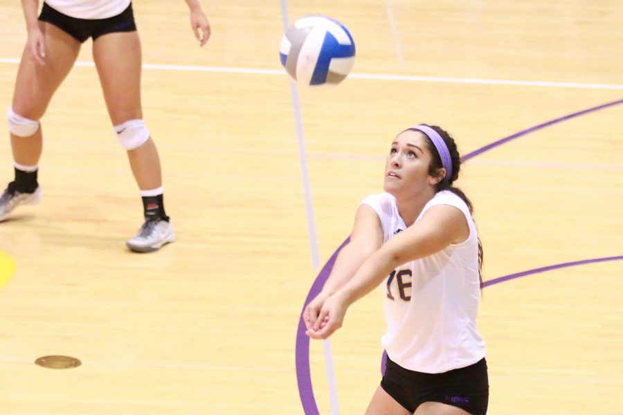 Sophomore defensive specialist Ava Carnley digs an opposing kill in UNA's rematch versus West Florida Nov. 11 in Florence. After being swept at West Florida earlier in the season, the Lions fell once again 3-1 in the team's first home loss of the season