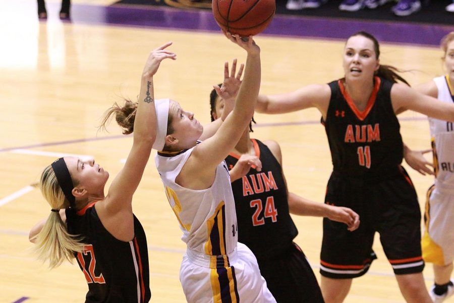 Sophomore guard Savannah Stults drives for a layup in North Alabama's final non-conference game against Auburn-Montgomery in Florence. The Lions finished up a perfect 6-0 start to the season with the 87-55 victory.