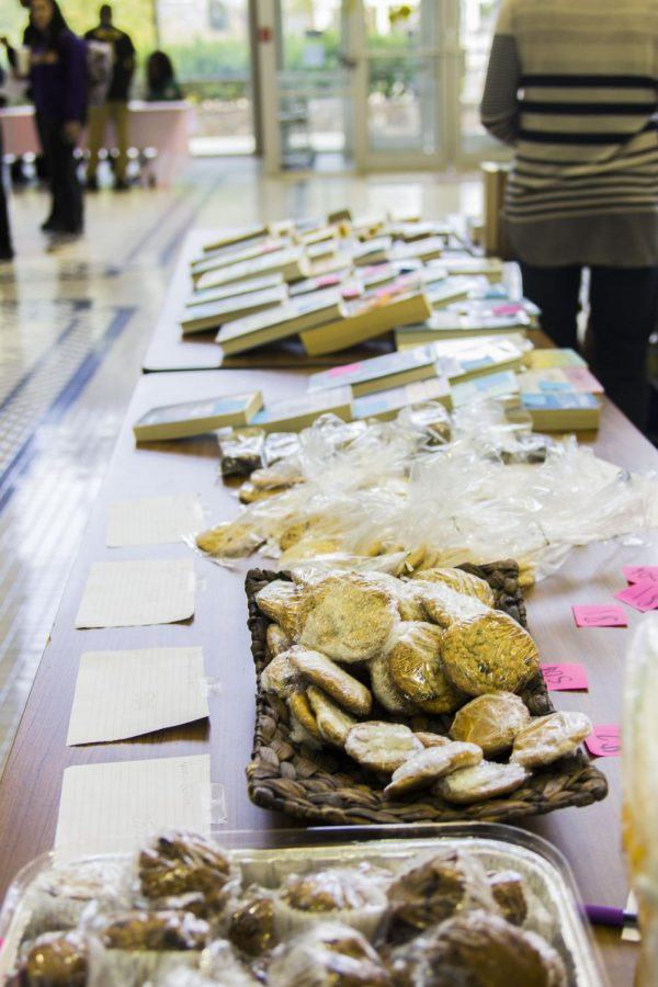 Cookies and books line a table in the Gulliot University Center Nov. 8 for the English Club's book and bake sale. All books leftover from the sale will go to the Limestone County Correctional Facility, said senior Brooke Carlson.