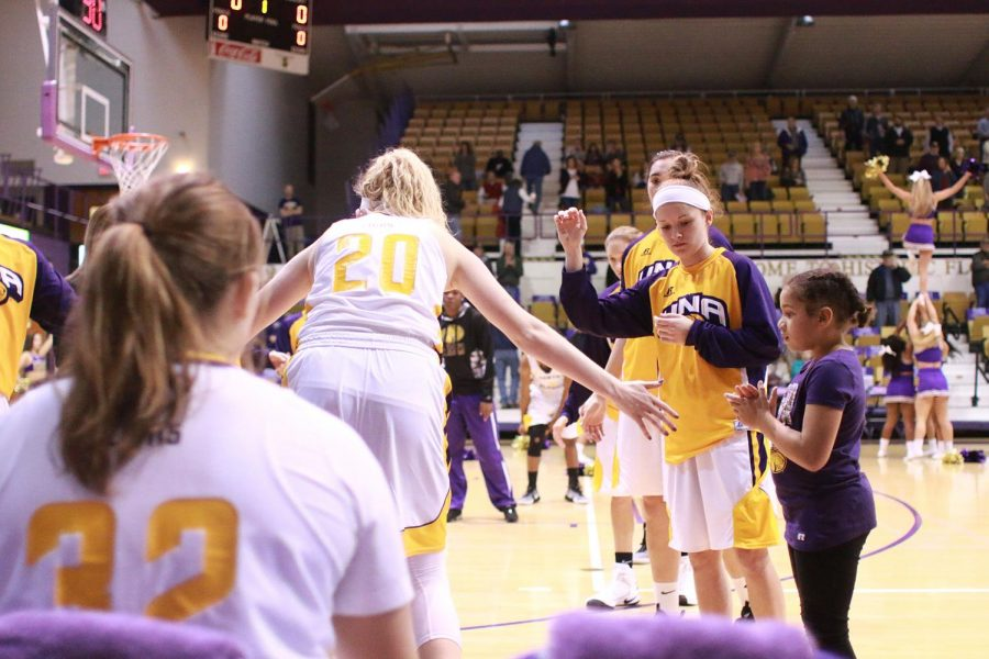 North Alabama forward Katelyn Nunley enters the game against Oakwood Nov. 17 at Flowers Hall. The Lions sealed a perfect 9-0 record headed into a holiday break with a 73-62 victory over West Georgia.