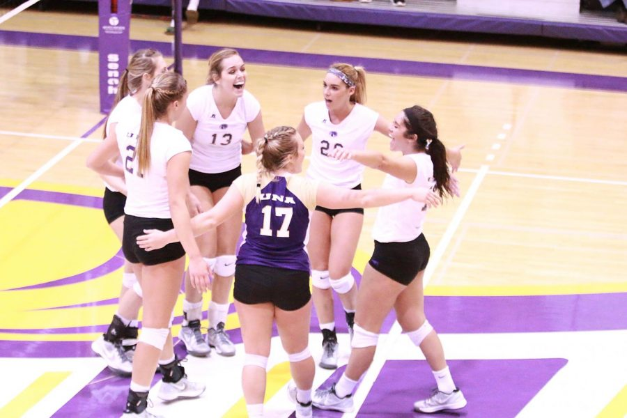 Lions+volleyball+players+embrace+at+mid-court+following+a+kill+in+their+Oct.+21+home+match+against+Lee.+After+defeating+West+Florida+in+the+Gulf+South+Conference+tournament+finale%2C+North+Alabama+could+not+duplicate+the+results+in+the+first+round+of+the+NCAA+tournament+as+they+fell+to+the+Argonauts+3-1+in+a+rematch.