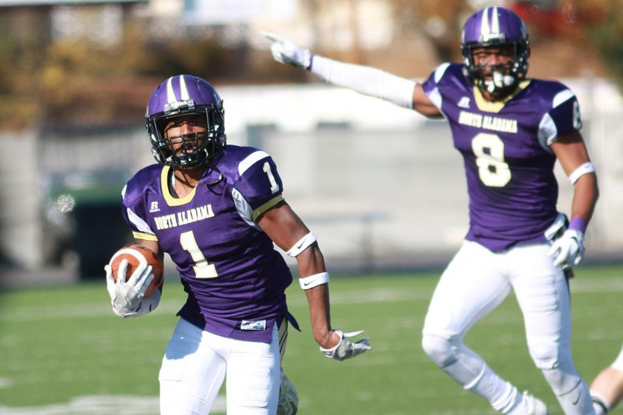 Senior defensive back Philbert Martial returns a punt in North Alabama's 41-17 playoff victory over North Carolina-Pembroke at home. The Lions advance to the quarterfinal round for the first time since 2013 with the win.