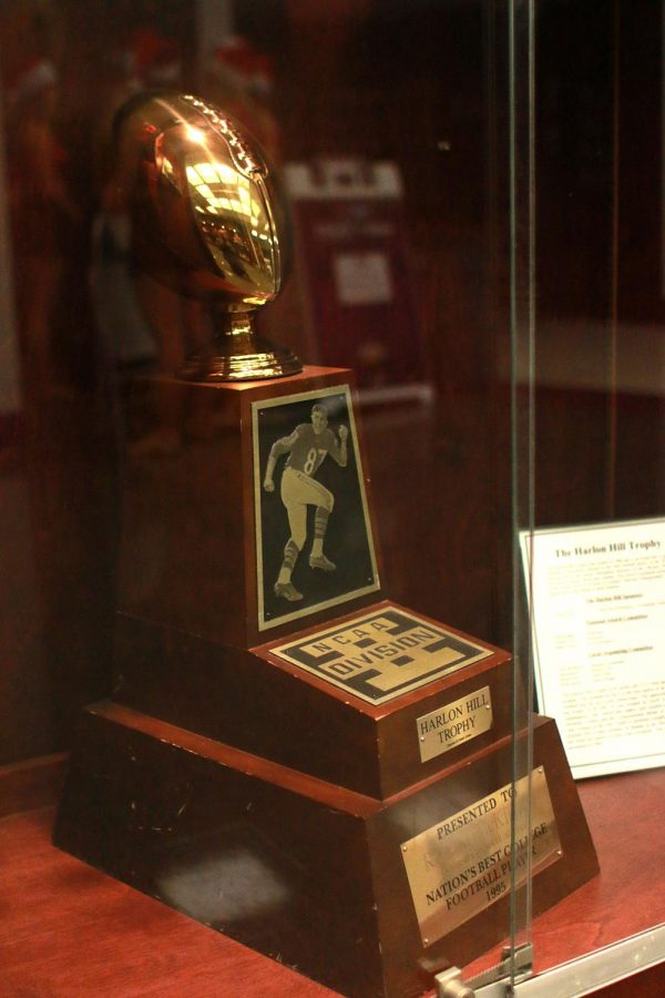 Ronald+McKinnon%27s+Harlon+Hill+Trophy+on+display+on+the+campus+of+North+Alabama+at+Flowers+Hall.+The+trophy+commemorates+the+most+valuable+football+player+in+Division+II+annually%2C+and+is+named+for+former+NFL+star+and+UNA+great%2C+Harlon+Hill.