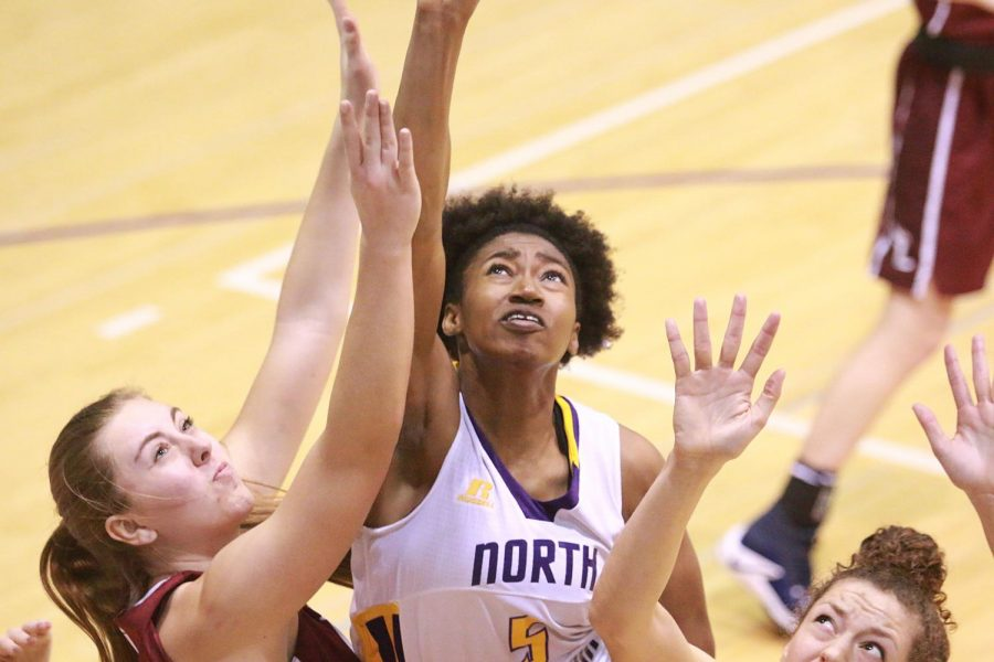 North Alabama junior guard KeKe Gunter drives up for a layup against Lee Jan. 19 at Flowers Hall. The Lions led by as many as 20 before Lee came back in the 4th quarter with 24 points, but UNA stood strong and sealed the win, 74-69.