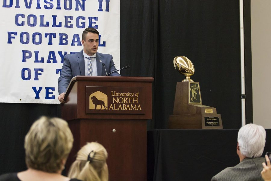 Colorado School of Mines quarterback Justin Dvorak gives an appreciation speech after winning the Harlon Hill trophy Jan. 6 in the Guillot University Center Banquet Hall. Dvorak is the 31st winner of the award, which honors the best player in the NCAA's Division II.
