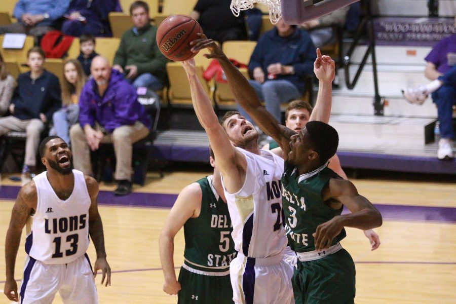 North Alabama forward Austin Timms goes for a layup against Delta State Jan. 28 in Florence. The Lions trailed by as many as 28, but let DSU escape with a 84-79 victory.