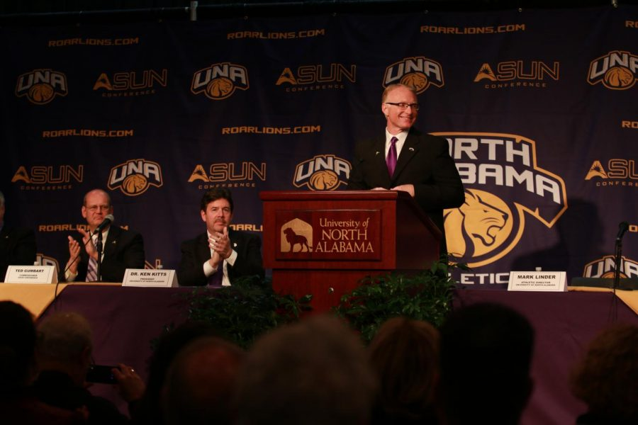 North+Alabama+Director+of+Athletics+Mark+Linder+addresses+the+crowd+at+the+university%27s+Dec.+6+press+conference+at+the+Guillot+University+Center+announcing+acceptance+to+the+ASUN+Conference.+All+UNA+sports+will+compete+against+the+current+eight+ASUN+schools+beginning+in+2018+except+for+football%2C+which+will+compete+in+the+Big+South+Conference.