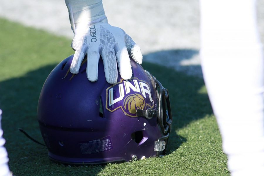 A+North+Alabama+football+player+leans+on+his+helmet+during+the+2016+season.+North+Alabama+football+added+34+new+signees+on+National+Signing+Day+2017+including+30+high+school+recruits%2C+and+four+college+transfers.