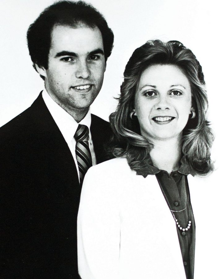 """Jeff Hodges, assistant athletics director for sports communication, and Karen Hodges, associate director for creative services, have been married since June 2, 1984. """"He was a junior transfer from Calhoun, and I was a second-semester freshman (when we met at UNA),"""" Karen Hodges said."""