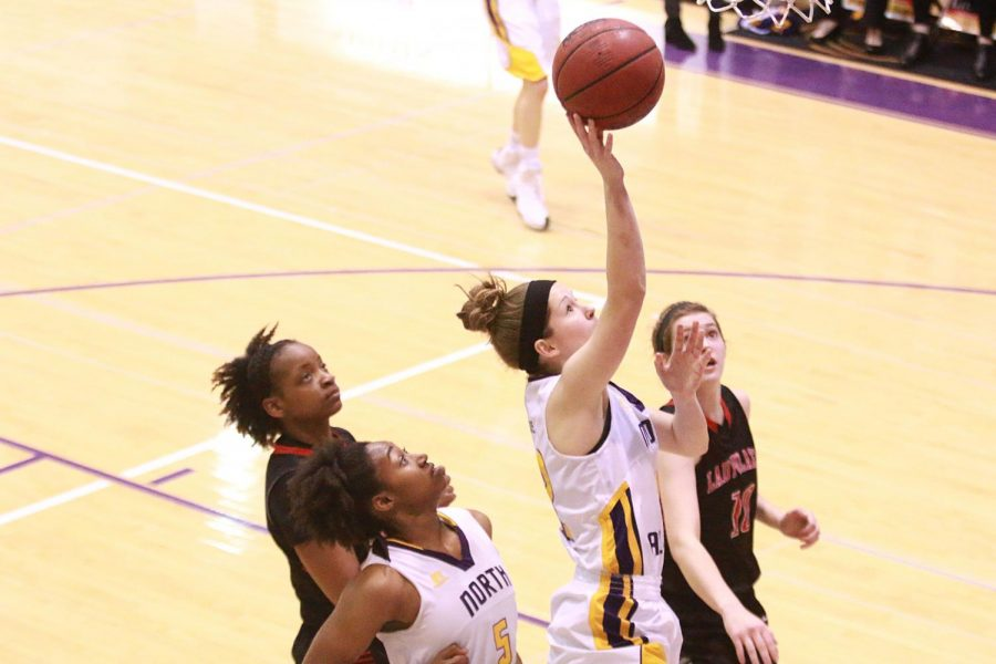 North Alabama sophomore guard Savannah Stults goes to the rim against Valdosta State Feb. 18 at Flowers Hall. The Lions clinched a playoff spot in the win against the Blazers.